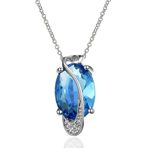 Mock Sapphire Silver Lining Classic Necklace made with Swarovski Elements - rubiquejewelry.com
