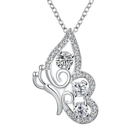 Crystal Stone Spiral Butterfly Design Drop Necklace - rubiquejewelry.com