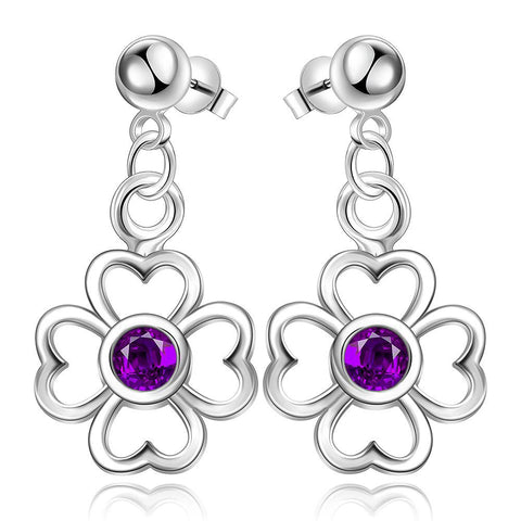 Sterling Silver Hollow Clover with Purple Citrine Drop Earring - rubiquejewelry.com