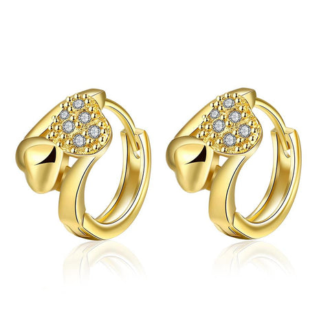 Gold Plated Circular Crystal Hoops - rubiquejewelry.com