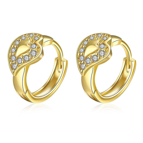 Gold Plated Abstract Blingy Emblem Mini Hoops - rubiquejewelry.com