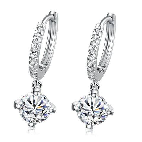 18K White Gold Plated Classic Drop Earring - rubiquejewelry.com