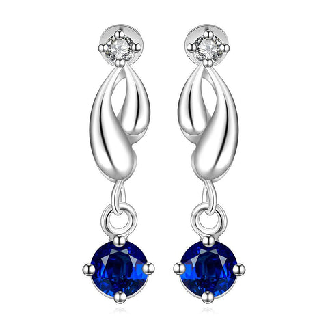 Sterling Silver Abstract Curved Sapphire Drop Earring - rubiquejewelry.com