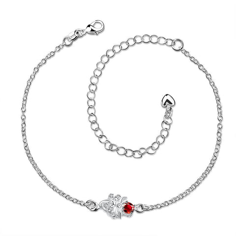 Grape Vine Ruby Red Petite Anklet - rubiquejewelry.com