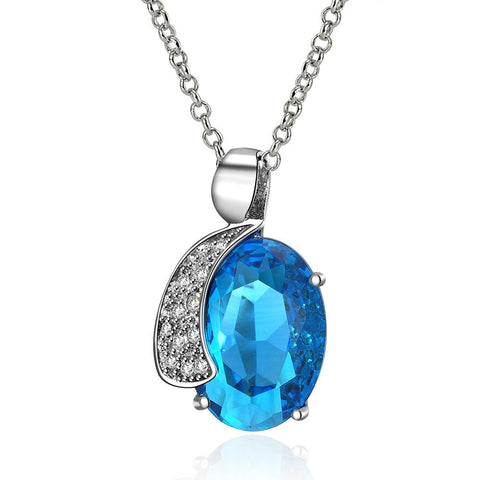 Mid Size Mock Sapphire Crystal Insert Necklace made with Swarovski Elements - rubiquejewelry.com