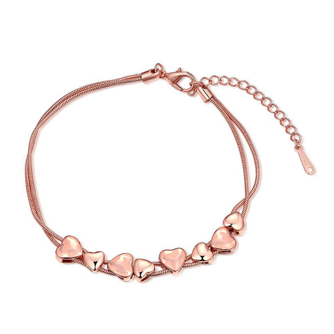 18K Rose Gold Plated Heart Bracelet - rubiquejewelry.com