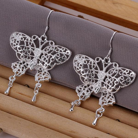 Sterling Silver Laser Cut Flying Butterfly Earring - rubiquejewelry.com