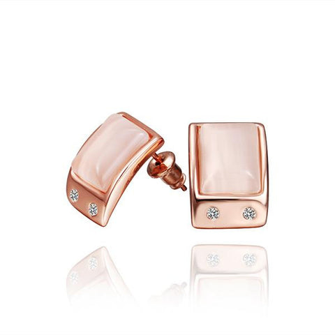 18 Rose Gold Ivory Center Stud Earrings Made with Swarovksi Elements - rubiquejewelry.com