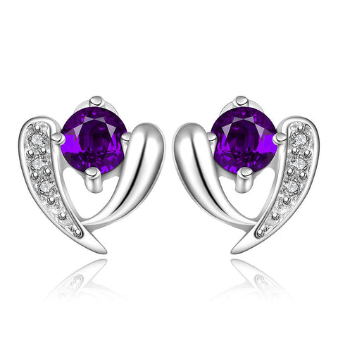 Sterling Silver Purple Citrine Vertical Curved Stud Earring - rubiquejewelry.com