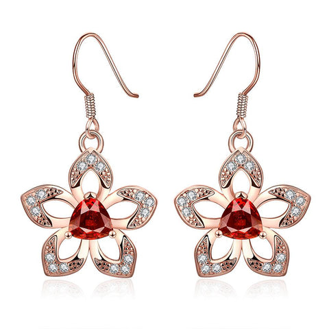 18K Rose Gold Starfish with Ruby Centerpiece Drop Earrings Made with Swarovksi Elements - rubiquejewelry.com
