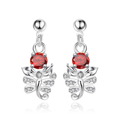 Petite Ruby Red Orchid Drop Earrings - rubiquejewelry.com
