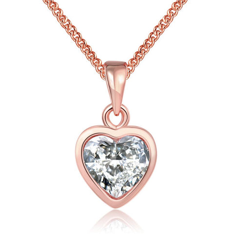 18K Rose Gold Plated Pure White HeartNecklace - rubiquejewelry.com