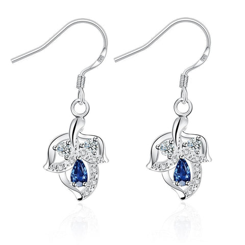 Mock Sapphire Floral Triangular Drop Earrings - rubiquejewelry.com