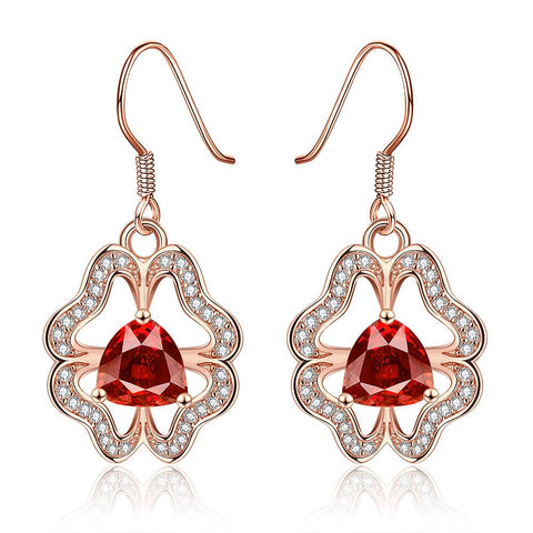 18K Rose Gold Abstract Drop Down Earrings with Ruby Centerpiece Made with Swarovksi Elements - rubiquejewelry.com