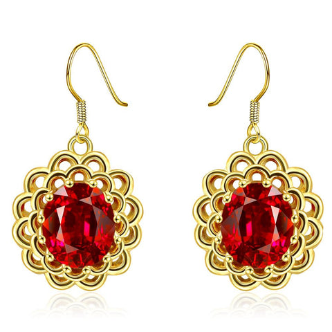 18K Gold Ruby Gem Drop Down Earrings Made with Swarovksi Elements - rubiquejewelry.com