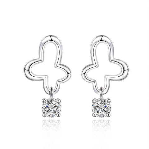 Sterling Silver Curved Clover Drop Earring - rubiquejewelry.com