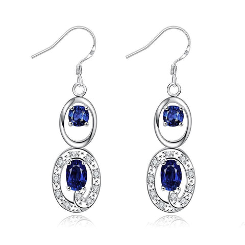 Mock Sapphire Duo Drop Dangling Earrings - rubiquejewelry.com