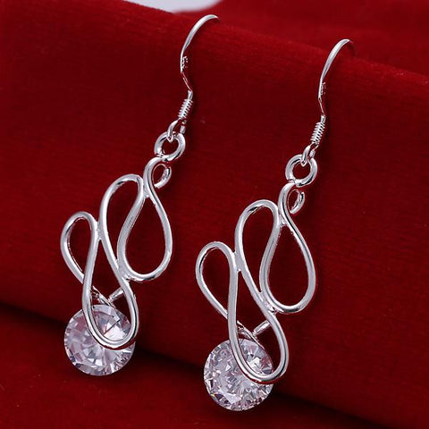 Sterling Silver Abstract Circular Drop Earring - rubiquejewelry.com