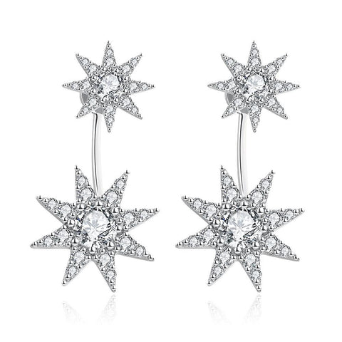 White Gold Plated Star Drop Studs - rubiquejewelry.com