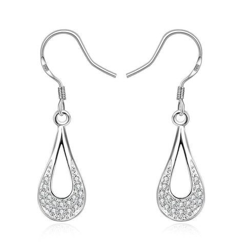 Sterling Silver Laser Cut Curved Drop Drop Earring - rubiquejewelry.com