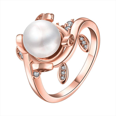 Rose Gold Plated Cultured Pearl Leaf Inserts Ring - rubiquejewelry.com