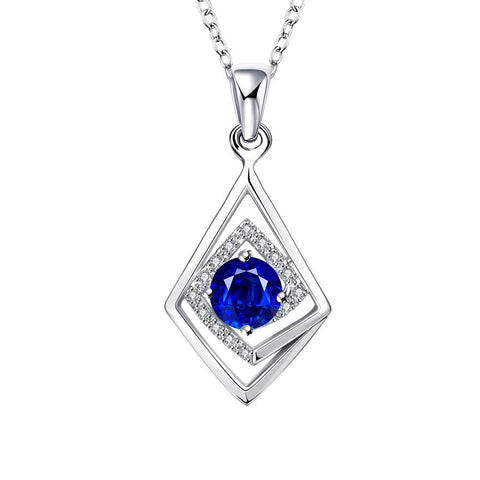 Diamond Shaped Mock Sapphire Drop Necklace - rubiquejewelry.com