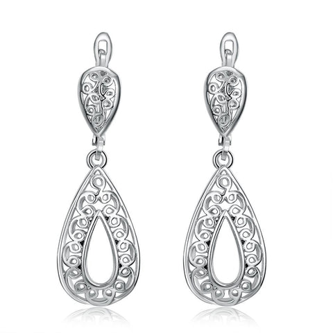 18K White Gold Plated Bohemian Style Drop Earrings - rubiquejewelry.com