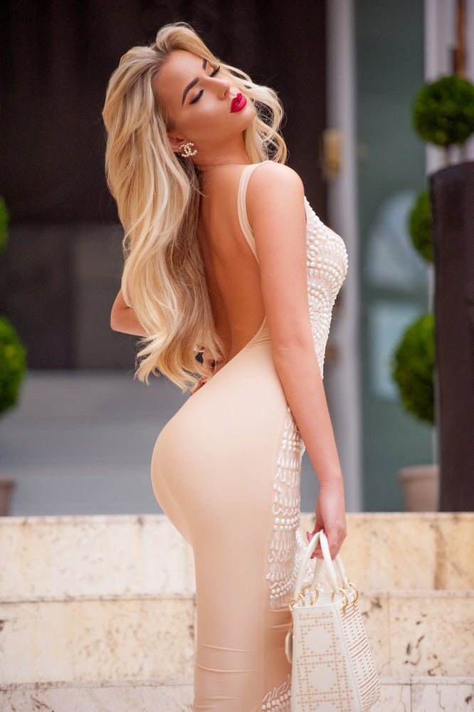 MICHELLE GOWN IN NUDE WITH WHITE