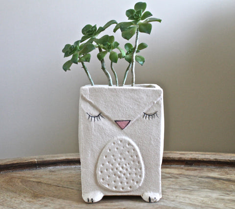 Small Hand shaped Stoneware Succulent Planter