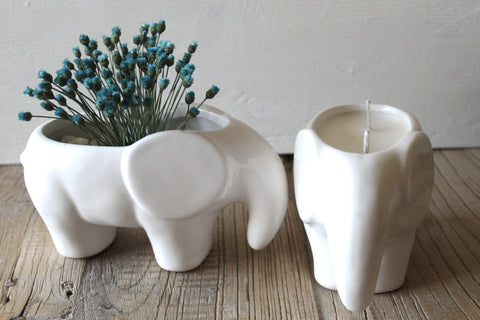2 Wick Scented Soy candle in White Elephant planter