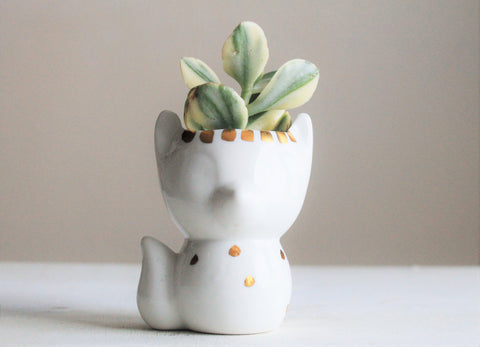 Porcelain Fox Succulent Planter- 22k gold drip