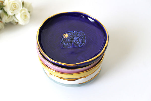Elephant Ring Dish in Sapphire with Genuine 22k Gold Rim