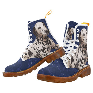 Dalmatian Lover White Boots For Men - TeeAmazing