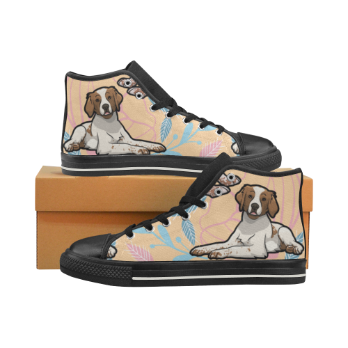 Brittany Spaniel Flower Black Men's Classic High Top Canvas Shoes - TeeAmazing