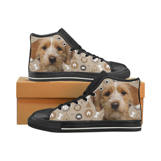 Basset Fauve Dog Black High Top Canvas Women's Shoes/Large Size - TeeAmazing