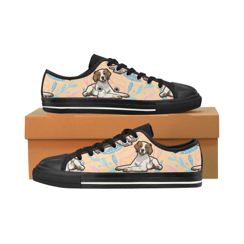 Brittany Spaniel Flower Black Men's Classic Canvas Shoes/Large Size - TeeAmazing
