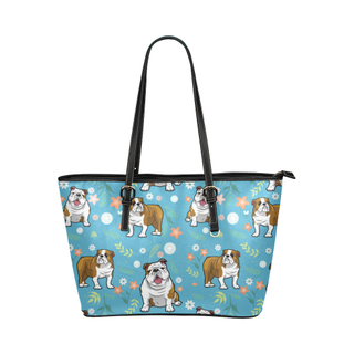 English Bulldog Flower Leather Tote Bag/Small (Model 1651) - TeeAmazing