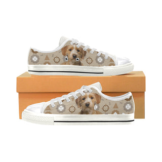 Basset Fauve Dog White Canvas Women's Shoes/Large Size - TeeAmazing