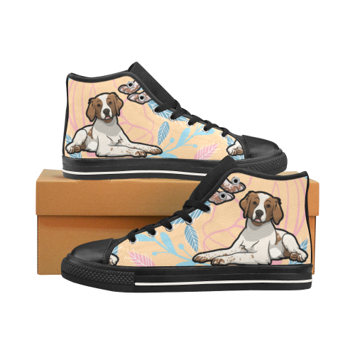 Brittany Spaniel Flower Black Men's Classic High Top Canvas Shoes /Large Size - TeeAmazing