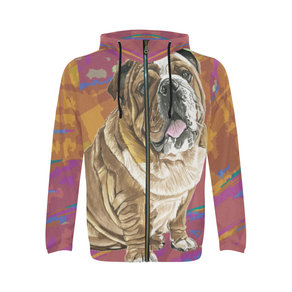 English Bulldog Water Colour No.2 All Over Print Full Zip Hoodie for Men - TeeAmazing