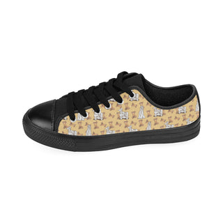 Afghan Hound Pattern Black Low Top Canvas Shoes for Kid - TeeAmazing