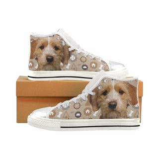 Basset Fauve Dog White Women's Classic High Top Canvas Shoes - TeeAmazing