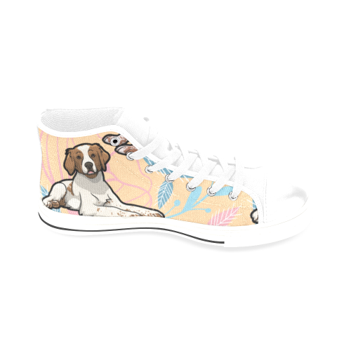 Brittany Spaniel Flower White Men's Classic High Top Canvas Shoes /Large Size - TeeAmazing