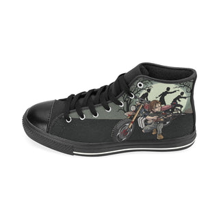 Daryl Dixon Black High Top Canvas Women's Shoes (Large Size) - TeeAmazing