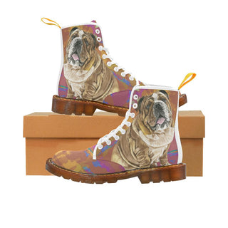 English Bulldog Water Colour No.2 White Boots For Women - TeeAmazing