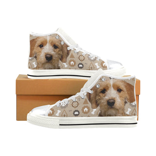 Basset Fauve Dog White High Top Canvas Women's Shoes/Large Size - TeeAmazing