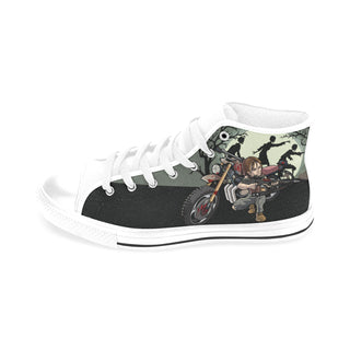 Daryl Dixon White Men's Classic High Top Canvas Shoes /Large Size - TeeAmazing
