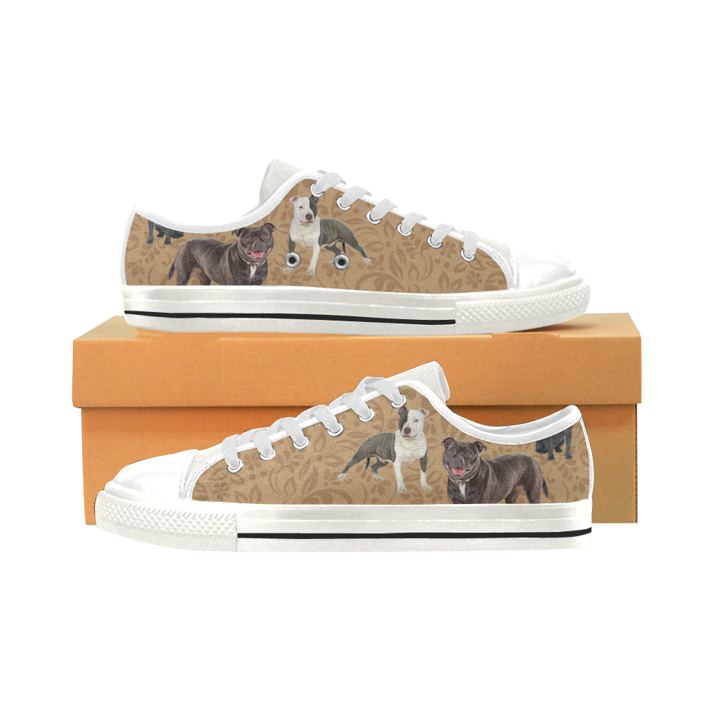 Staffordshire Bull Terrier Lover White Low Top Canvas Shoes for Kid - TeeAmazing