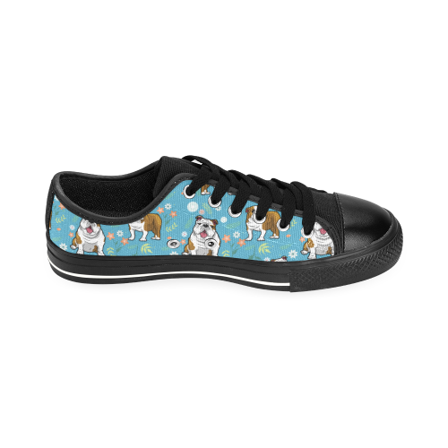 English Bulldog Flower Black Men's Classic Canvas Shoes/Large Size (Model 018) - TeeAmazing