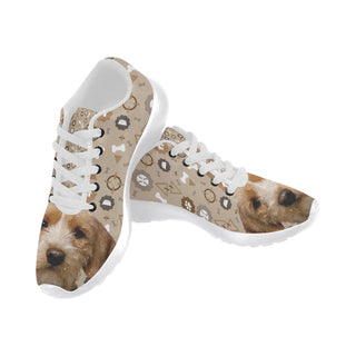 Basset Fauve Dog White Sneakers for Women - TeeAmazing